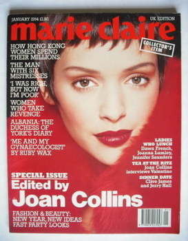 British Marie Claire magazine - January 1994 - Patricia Hartmann cover