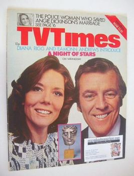TV Times magazine - Eamonn Andrews and Diana Rigg cover (13-19 March 1976)