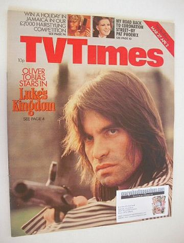 <!--1976-03-27-->TV Times magazine - Oliver Tobias cover (27 March - 2 Apri