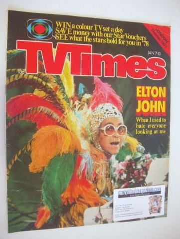 <!--1978-01-07-->TV Times magazine - Elton John cover (7-13 January 1978)