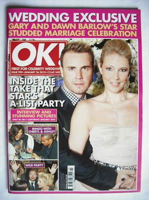 <!--2010-01-26-->OK! magazine - Gary Barlow and Dawn Andrews cover (26 Janu