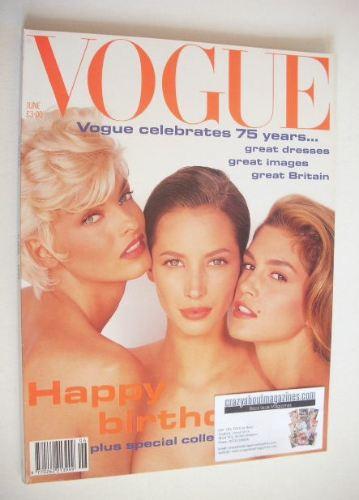 <!--1991-06-->British Vogue magazine - June 1991 - Linda Evangelista, Chris
