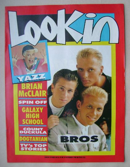 <!--1988-11-26-->Look In magazine - Bros cover (26 November 1988)