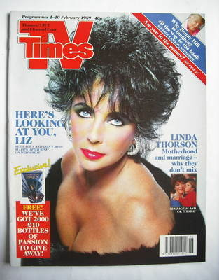 <!--1989-02-04-->TV Times magazine - Elizabeth Taylor cover (4-10 February