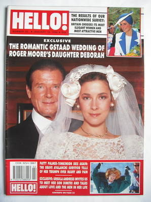 <!--1990-01-13-->Hello! magazine - Roger Moore and daughter Deborah cover (