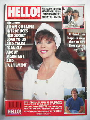 <!--1990-09-22-->Hello! magazine - Joan Collins cover (22 September 1990 -