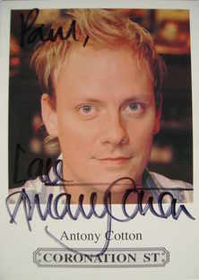 Antony Cotton autograph (Coronation Street actor)