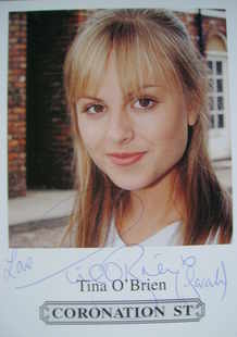 Tina O'Brien autograph (ex-Coronation Street actor)