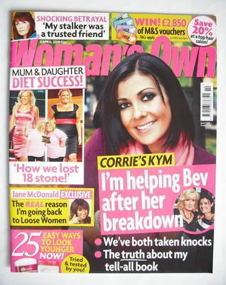 <!--2010-04-05-->Woman's Own magazine - 5 April 2010 - Kym Marsh cover