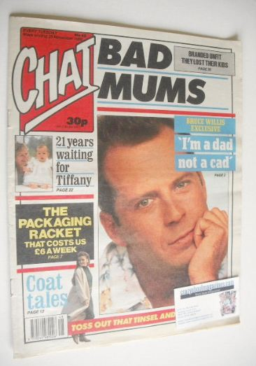 <!--1989-11-25-->Chat magazine - Bruce Willis cover (25 November 1989)