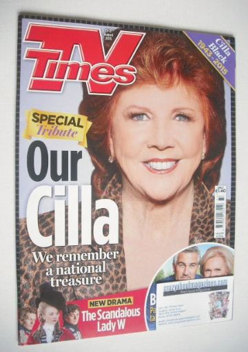 <!--2015-08-15-->TV Times magazine - Cilla Black cover (15-21 August 2015)
