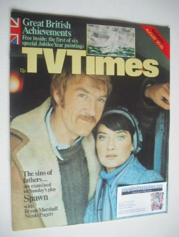 <!--1977-08-20-->TV Times magazine - Bryan Marshall and Nicola Pagett cover