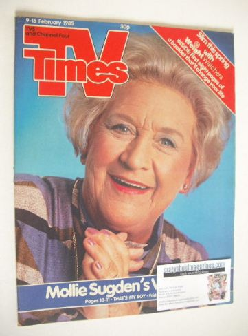 <!--1985-02-09-->TV Times magazine - Mollie Sugden cover (9-15 February 198