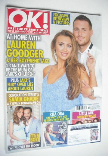 <!--2015-07-07-->OK! magazine - Lauren Goodger cover (7 July 2015 - Issue 9
