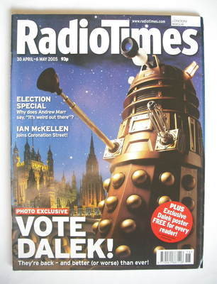 <!--2005-04-30-->Radio Times magazine - Daleks cover (30 April - 6 May 2005