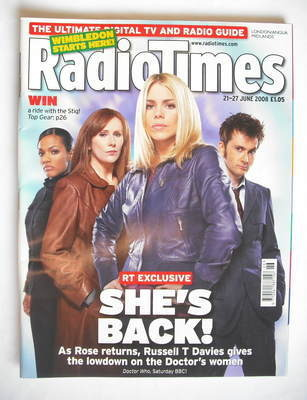<!--2008-06-21-->Radio Times magazine - David Tennant, Billie Piper, Freema