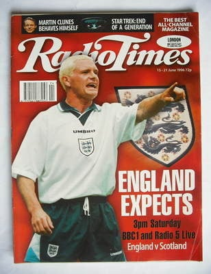 <!--1996-06-15-->Radio Times magazine - Paul Gascoigne cover (15-21 June 19