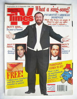 <!--1990-09-15-->TV Times magazine - Luciano Pavarotti cover (15-21 Septemb