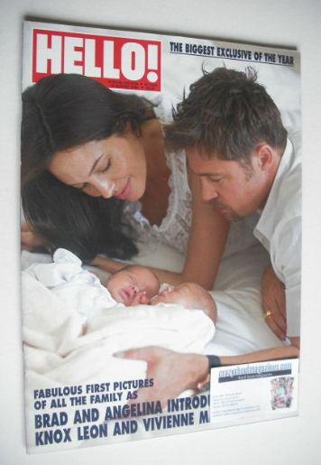 <!--2008-08-19-->Hello! magazine - Angelina Jolie and Brad Pitt and baby tw