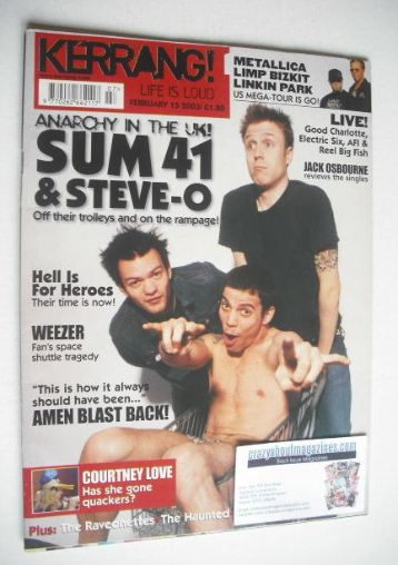 <!--2003-02-15-->Kerrang magazine - Sum 41 and Steve-O cover (15 February 2