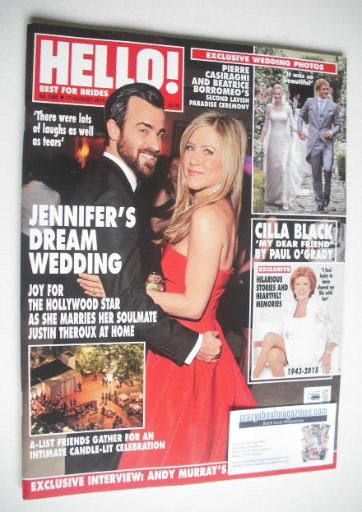 <!--2015-08-17-->Hello! magazine - Jennifer Aniston and Justin Theroux cove
