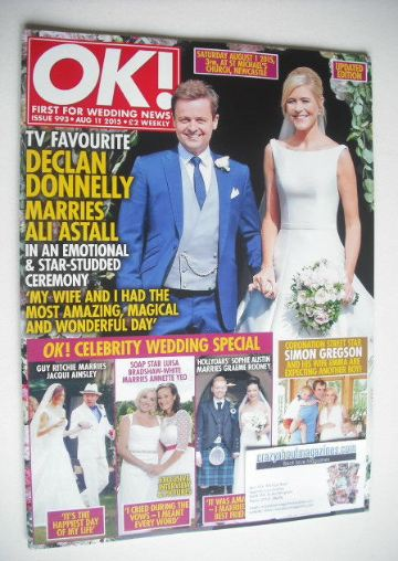<!--2015-08-11-->OK! magazine - Declan Donnelly and Ali Astall cover (11 Au