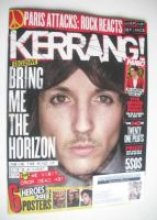 <!--2015-11-28-->Kerrang magazine - Oli Sykes cover (28 November 2015 - Issue 1596)