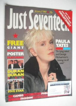 Just Seventeen magazine - 7 January 1987 - Paula Yates cover