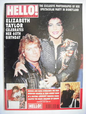 <!--1992-03-14-->Hello! magazine - Elizabeth Taylor and Larry Fortensky cov
