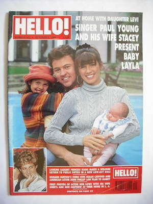 <!--1994-10-08-->Hello! magazine - Paul Young and Stacey Young and baby Lay