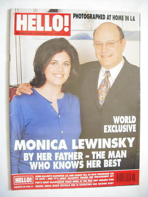 <!--1999-02-27-->Hello! magazine - Monica Lewinsky and father cover (27 Feb