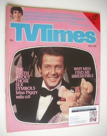 <!--1980-10-04-->TV Times magazine - Roger Moore and Miss Piggy cover (4-10
