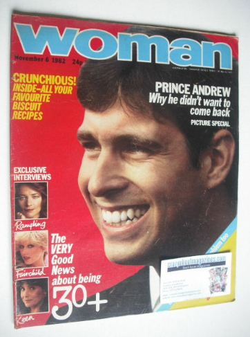 <!--1982-11-06-->Woman magazine - Prince Andrew cover (6 November 1982)