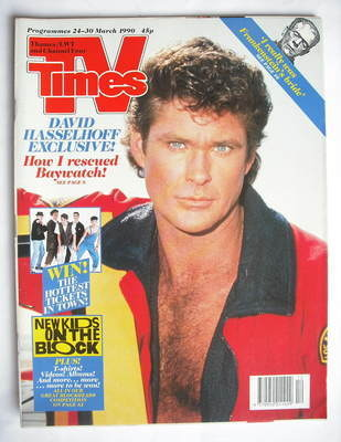 <!--1990-03-24-->TV Times magazine - David Hasselhoff cover (24-30 March 19