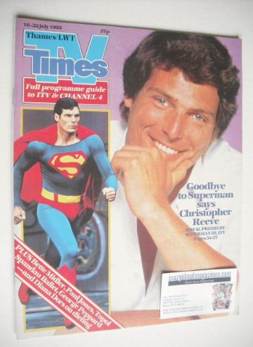 <!--1983-07-16-->TV Times magazine - Christopher Reeve cover (16-22 July 19