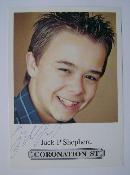 Jack P. Shepherd autograph (hand-signed Coronation Street cast card)