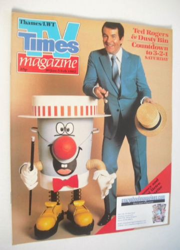 <!--1982-01-30-->TV Times magazine - Ted Rogers and Dusty Bin cover (30 Jan
