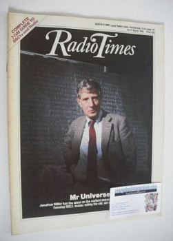 Radio Times magazine - Jonathan Miller cover (15-21 March 1986)