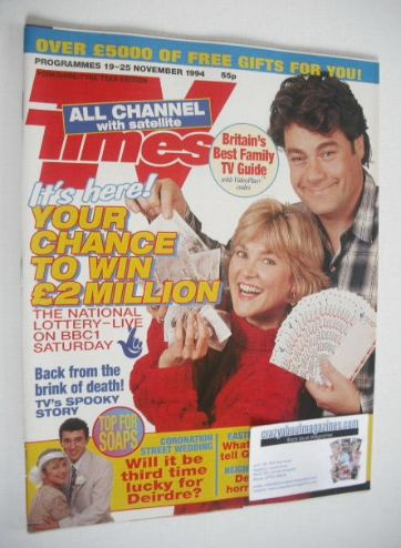 <!--1994-11-19-->TV Times magazine - Gordon Kennedy and Anthea Turner cover