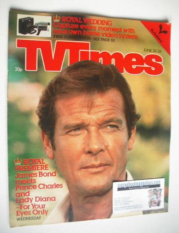 <!--1981-06-20-->TV Times magazine - Roger Moore cover (20-26 June 1981)