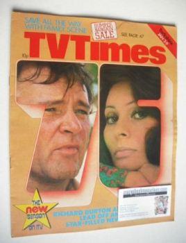 TV Times magazine - Richard Burton and Sophia Loren cover (3-9 January 1976)