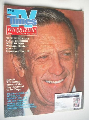 <!--1982-05-22-->TV Times magazine - William Holden cover (22-28 May 1982)