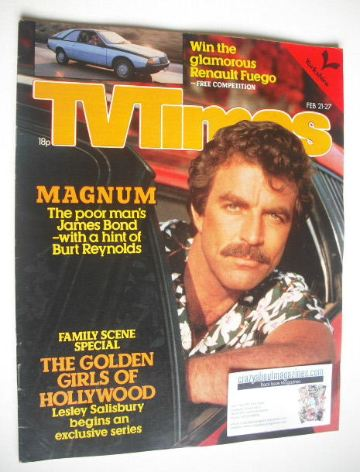 <!--1981-02-21-->TV Times magazine - Tom Selleck cover (21-27 February 1981