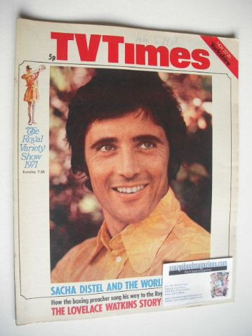 <!--1971-11-20-->TV Times magazine - Sacha Distel cover (20-26 November 197