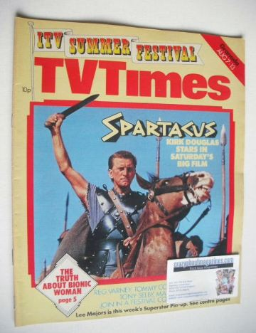 <!--1976-08-07-->TV Times magazine - Kirk Douglas cover (7-13 August 1976)