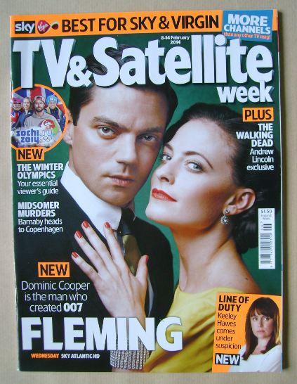 <!--2014-02-08-->TV & Satellite Week magazine - Dominic Cooper and Lara Pul