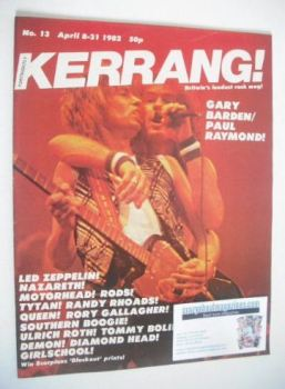 Kerrang magazine - Gary Barden and Paul Raymond cover (8-21 April 1982 - Issue 13)