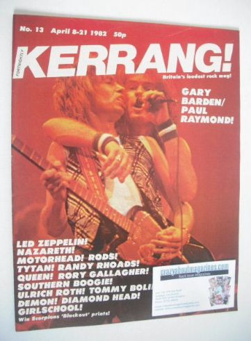 <!--1982-04-08-->Kerrang magazine - Gary Barden and Paul Raymond cover (8-2