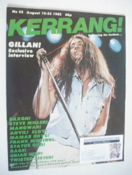 Kerrang magazine - Ian Gillan cover (12-25 August 1982 - Issue 22)