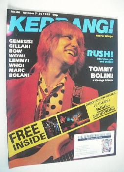Kerrang magazine - Alex Lifeson cover (7-20 October 1982 - Issue 26)